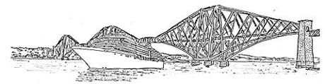 Drawing of cruise ship by Forth Rail Bridge