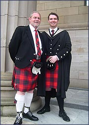 Duncan McNab with his son at University graduation